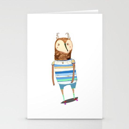 Deer, deer art, deer print, deer illustration, skateboard art, skateboarder,  Stationery Cards