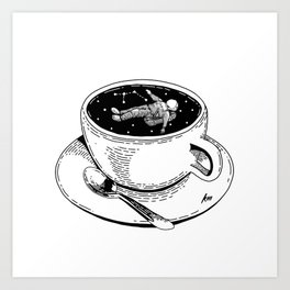 Coffe and Spaceman Art Print