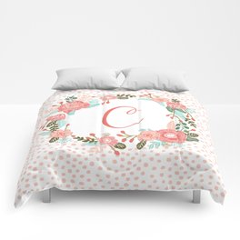 Monogram C - cute girls coral florals flower wreath, coral florals, baby girl, baby blanket Comforters