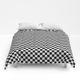 Small Black and White Checker Dog Paws Comforters