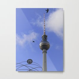 """TV Tower with detail of """"World time Clock"""", BERLIN Metal Print"""