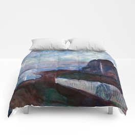 Edvard Munch Starry Night Comforters