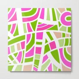Broken Green And Pink Abstract Metal Print