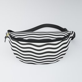 Black and White Chevron Wave Stripe Fanny Pack