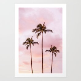 Palm Tree Photography Landscape Sunset Unicorn Clouds Blush Millennial Pink Art Print