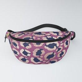 Girly Modern Rose Gold Navy Purple Leopard Print Fanny Pack