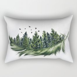 Earth Feather • Green Feather (horizontal) Rectangular Pillow