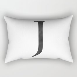 Letter J Initial Monogram Black and White Rectangular Pillow