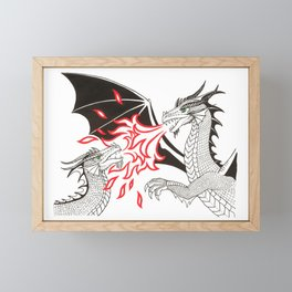 Dragons Fight Framed Mini Art Print
