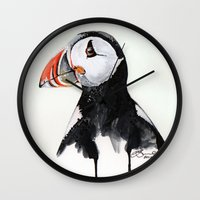 puffin Wall Clocks featuring Puffin by Paint the Moment