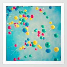 Polka Dots (Colorful happy balloons in flight) Art Print