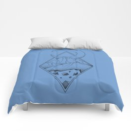 Geometric mountain in a diamonds with moon (tattoo style - black and white) Comforters