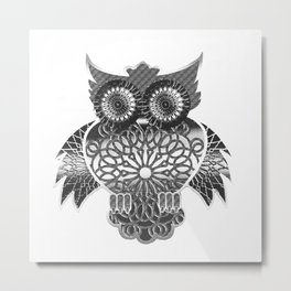Ornament Eule - schwarz-weiß Metal Print