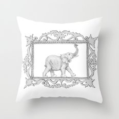 grey frame with elephant Throw Pillow