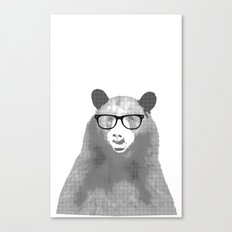 Halftone Hipster Bear Canvas Print