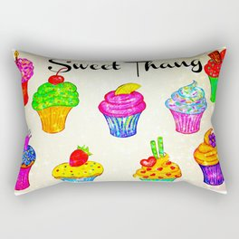 SWEET THANG - Cupcakes Sweet Sugary Goodness, Yummy Treat Romantic Colorful Bakery Illustration Rectangular Pillow