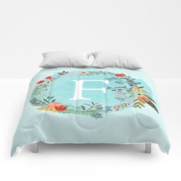Personalized Monogram Initial Letter F Blue Watercolor Flower Wreath Artwork Comforters