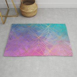 Watercolor Geometric Gold Pattern Art Rug