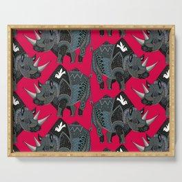 rhinoceros red Serving Tray