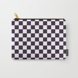 Small Checkered - White and Dark Purple Carry-All Pouch