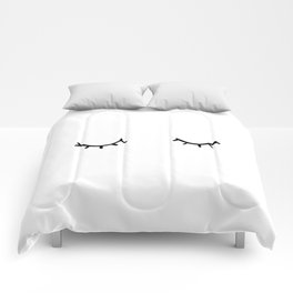 Closed eyes, just eyelashes Comforters