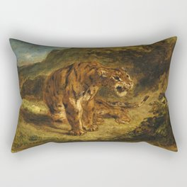 "Eugène Delacroix ""Tiger on the Look-Out or Growling Tiger"" Rectangular Pillow"