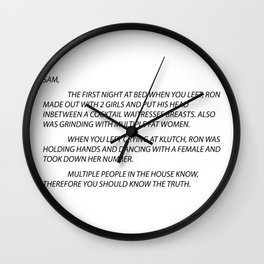 Sammi Anonymous letter to sam Wall Clock
