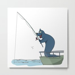 Fisher on a boat Metal Print