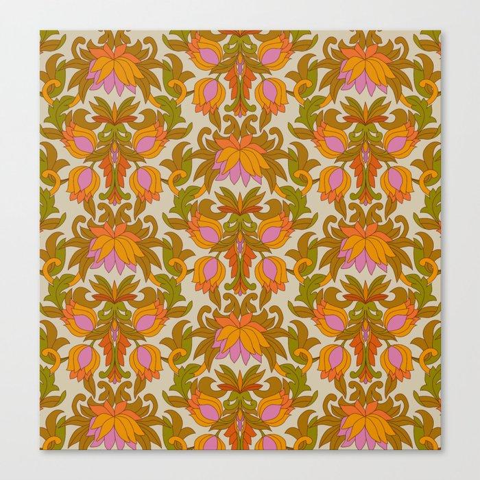 Orange, Pink Flowers and Green Leaves 1960s Retro Vintage Pattern Leinwanddruck