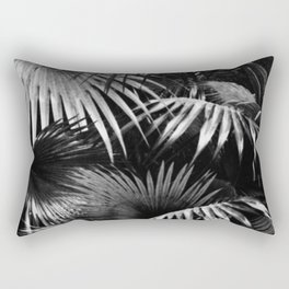 Tropical Botanic Jungle Garden Palm Leaf Black White Rectangular Pillow