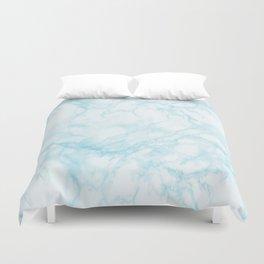 Elegant pastel blue white modern marble Duvet Cover