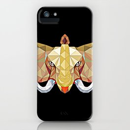 Elephant pop art, African Bull Elephant in abstract 3D illustration with white tusks, awesome polygo iPhone Case