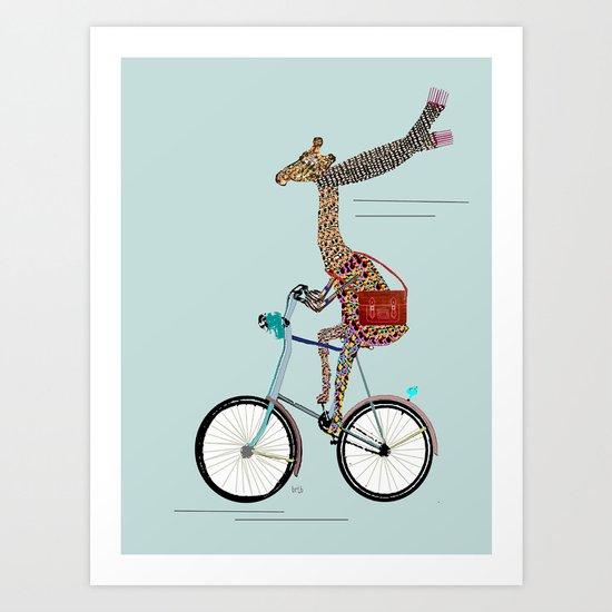Giraffes School Days  Art Print