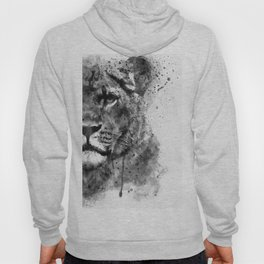 Black And White Half Faced Lioness Hoody