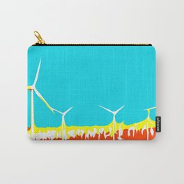 wind turbine in the desert with blue sky Carry-All Pouch