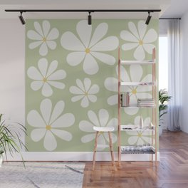 Floral Daisy Pattern - Green Wall Mural