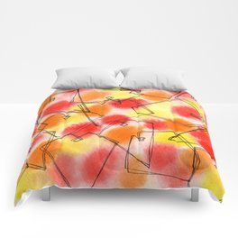 Spread Love heart pattern illustration wedding gift couples marriage red orange yellow Comforters