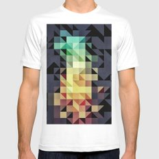 :: geometric maze IV :: White Mens Fitted Tee MEDIUM