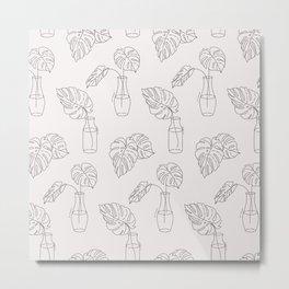Monstera homeplant lineart Metal Print