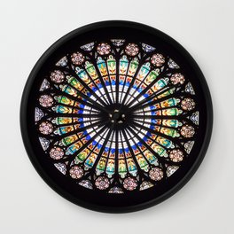 Stained glass cathedral rosette Wall Clock