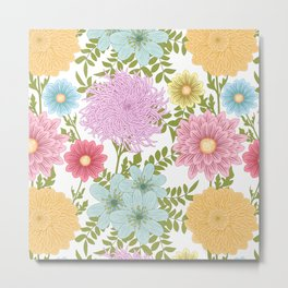 Painted Floral Pattern With Dahlias And Chrysanthemums Metal Print