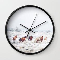 Winter Horses Wall Clock