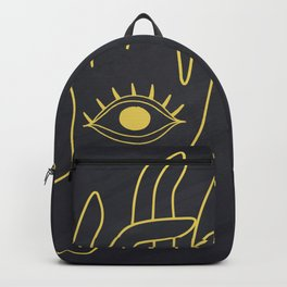 Lord Buddha's Hand With Eye Holding Lotus Flower Backpack