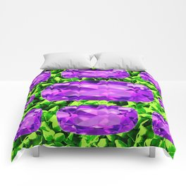 PURPLE AMETHYST FEBRUARY BIRTHSTONE GREEN ART Comforters