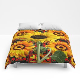SOUTHWESTERN  BLACK COLOR YELLOW SUNFLOWERS ART Comforters