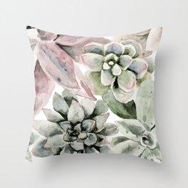 Circular Succulent Watercolor Throw Pillow