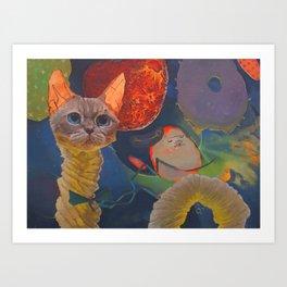 Cat-in space Art Print