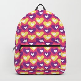 Purple and Yellow Hearts Repeated Pattern 067#001 Backpack