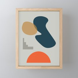 Abstract # 2 Grey Blue Orange Framed Mini Art Print