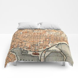 Vintage Map of Catania Italy (1905) Comforters